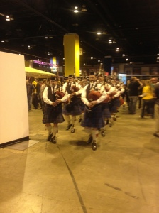 Every session opens with a bagpipe parade.