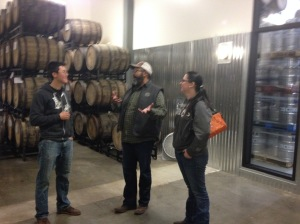 Checking out the barrel room at Breakside.